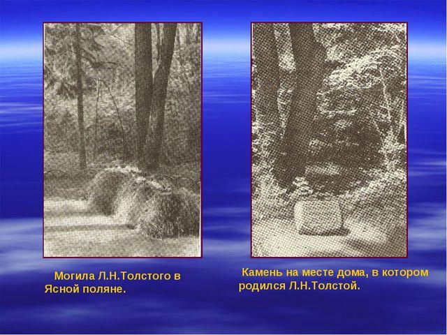 Могила Л.Н.Толстого в Ясной поляне. Камень на месте дома, в котором родился...