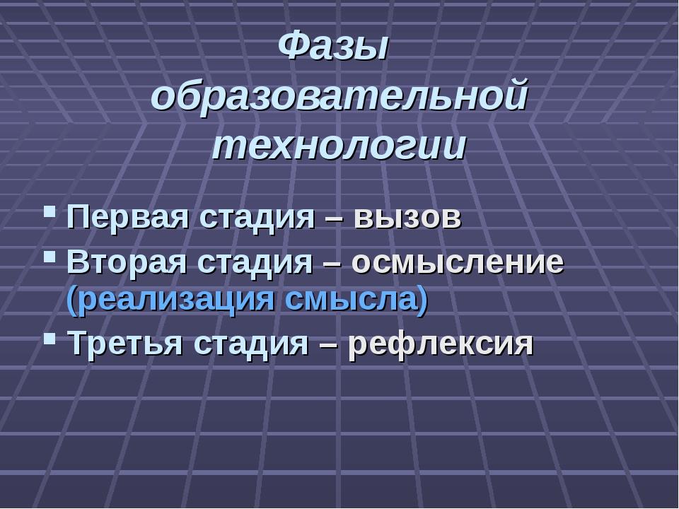 Фазы образовательной технологии Первая стадия – вызов Вторая стадия – осмысле...