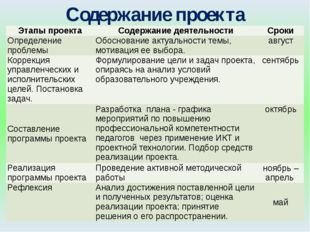 Содержание проекта Этапы проекта Содержание деятельности Сроки Определение пр