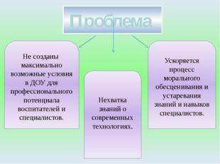 Проблема Не созданы максимально возможные условия в ДОУ для профессионального