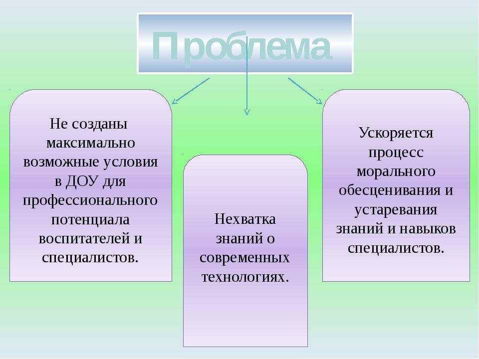 Проблема Не созданы максимально возможные условия в ДОУ для профессионального...