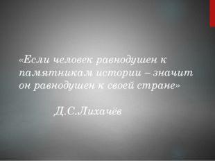 «Если человек равнодушен к памятникам истории – значит он равнодушен к своей