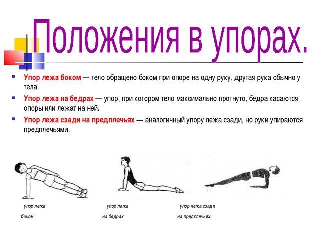 Упор лежа боком — тело обращено боком при опоре на одну руку, другая рука обы...