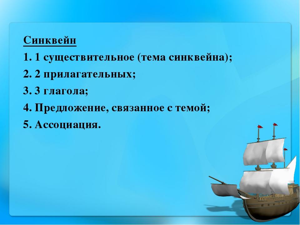 Синквейн 1. 1 существительное (тема синквейна); 2. 2 прилагательных; 3. 3 гла...