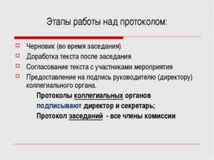 Этапы работы над протоколом: Черновик (во время заседания) Доработка текста п