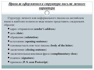 Правила оформления и структура письма личного характера Структуру личного или
