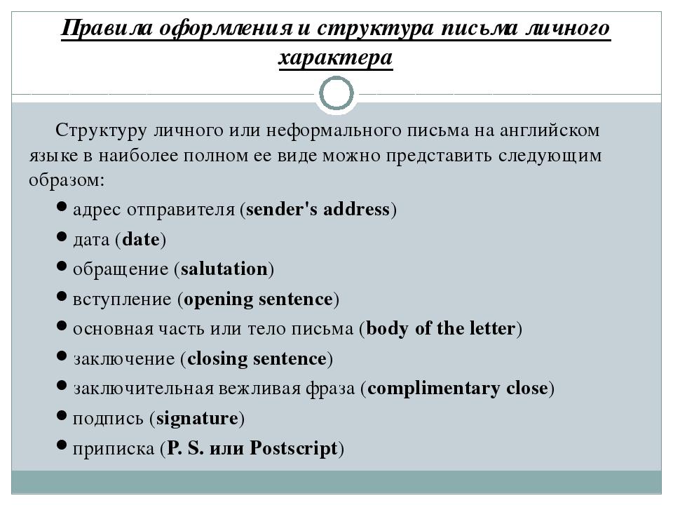 Правила оформления и структура письма личного характера Структуру личного или...