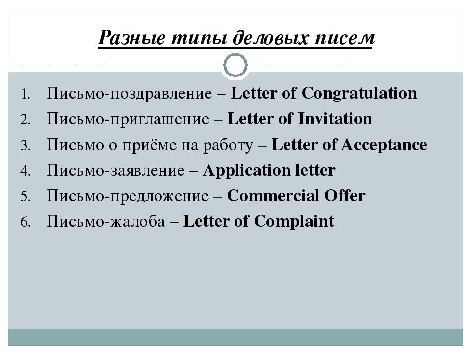 Разные типы деловых писем Письмо-поздравление – Letter of Congratulation Пись...