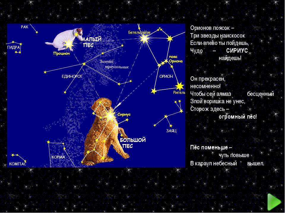 Орионов поясок – Три звезды наискосок Если влево ты пойдешь, Чудо – СИРИУС...