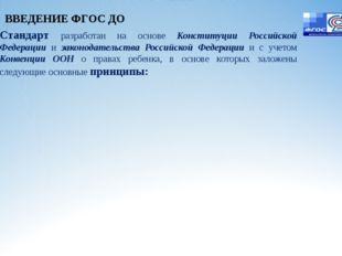 Стандарт разработан на основе Конституции Российской Федерации и законодатель