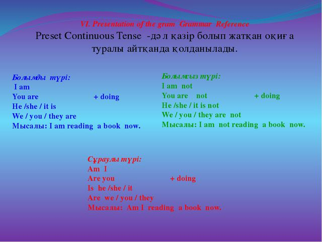VI. Presentation of the gram Grammar Reference Preset Continuous Tense -дәл қ...
