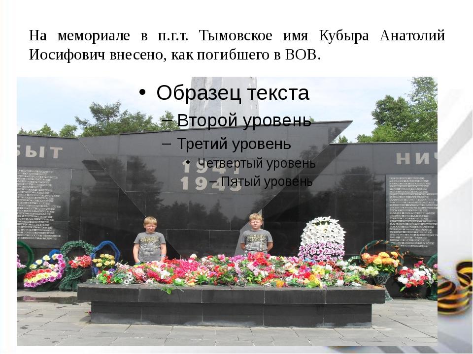 На мемориале в п.г.т. Тымовское имя Кубыра Анатолий Иосифович внесено, как по...