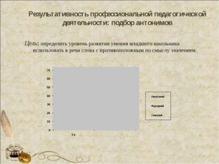 Результативность профессиональной педагогической деятельности: подбор антоним