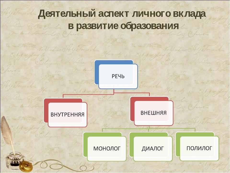 Деятельный аспект личного вклада в развитие образования