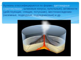 Вулканы классифицируются по форме (щитовидные, стратовулканы, шлаковые конусы
