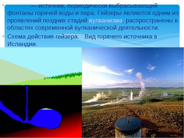 Ге́йзер— источник, периодически выбрасывающий фонтаны горячей воды и пара. Ге...