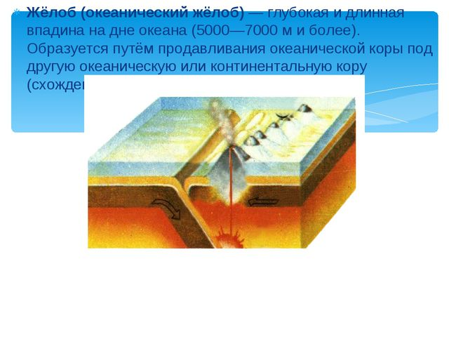 Жёлоб (океанический жёлоб)— глубокая и длинная впадина на дне океана (5000—7...