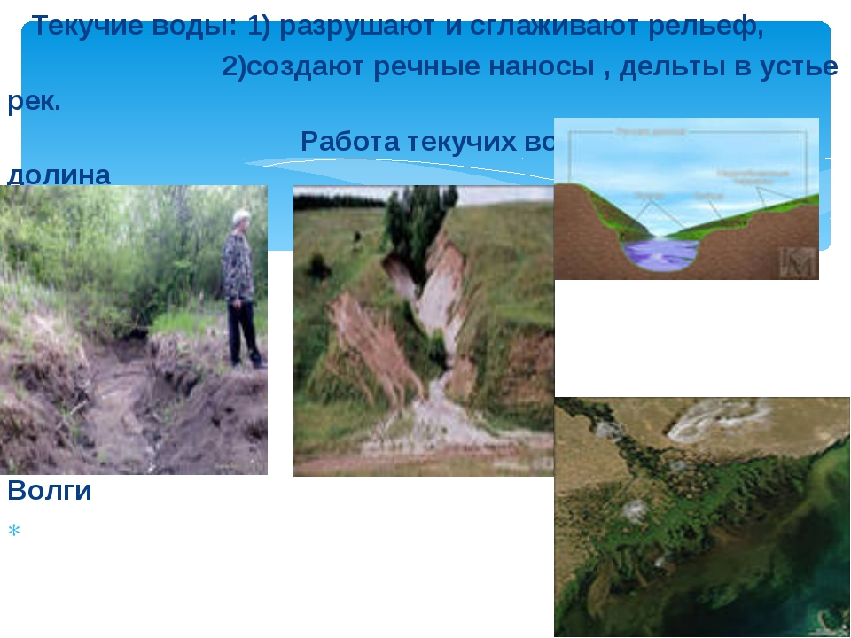 Текучие воды: 1) разрушают и сглаживают рельеф, 2)создают речные наносы , де...