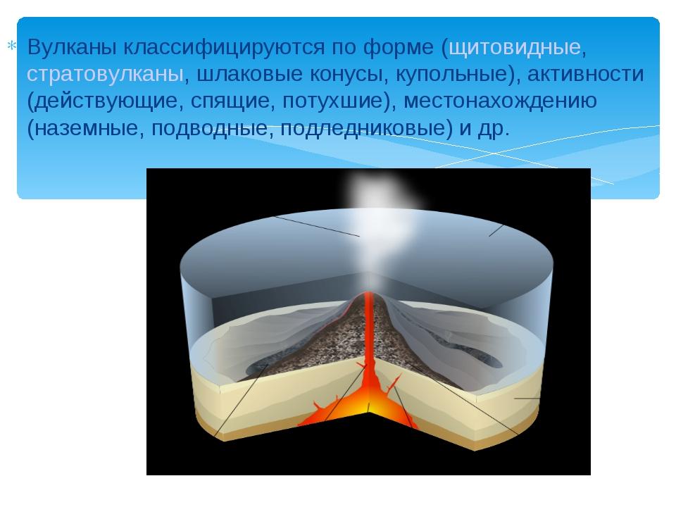 Вулканы классифицируются по форме (щитовидные, стратовулканы, шлаковые конусы...