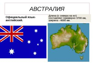 АВСТРАЛИЯ Официальный язык-английский. Длина (с севера на юг) составляет прим