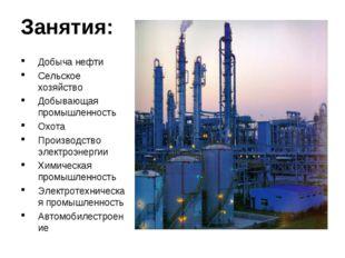 Занятия: Добыча нефти Сельское хозяйство Добывающая промышленность Охота Прои