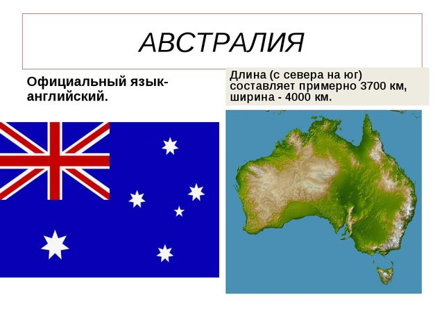 АВСТРАЛИЯ Официальный язык-английский. Длина (с севера на юг) составляет прим...