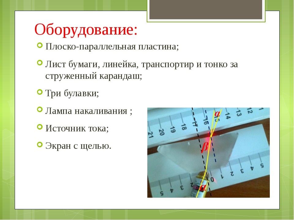 Оборудование: Плоско-параллельная пластина; Лист бумаги, линейка, транспортир...