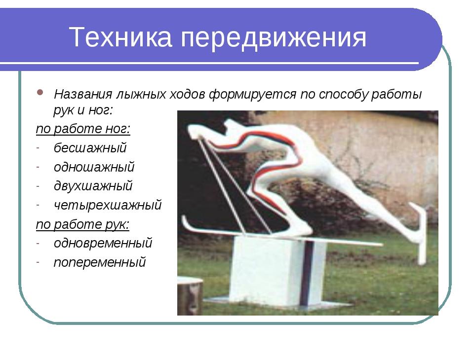 Техника передвижения Названия лыжных ходов формируется по способу работы рук...
