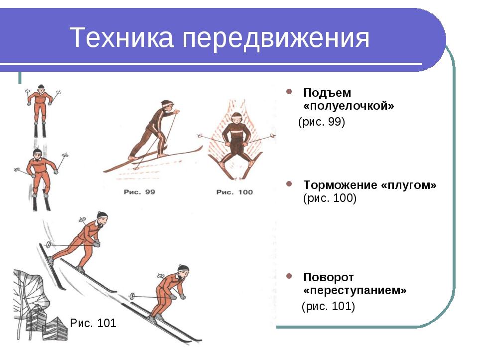 Техника передвижения Подъем «полуелочкой» (рис. 99) Торможение «плугом» (рис....