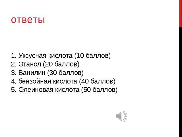 1. Уксусная кислота (10 баллов) 2. Этанол (20 баллов) 3. Ванилин (30 баллов)...