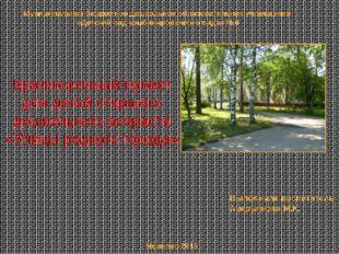 Краткосрочный проект для детей старшего дошкольного возраста «Улицы родного г