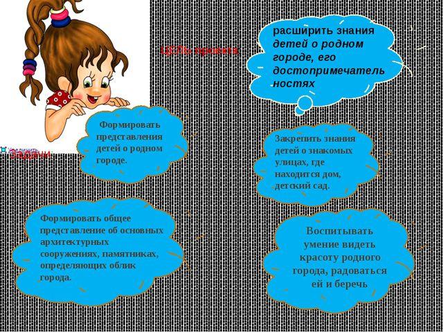 ЦЕЛЬ проекта: Задачи: расширить знания детей о родном городе, его достопримеч...