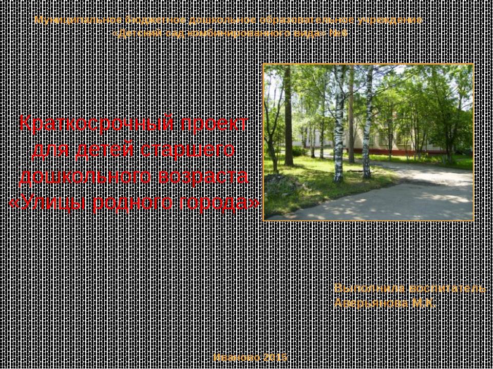 Краткосрочный проект для детей старшего дошкольного возраста «Улицы родного г...