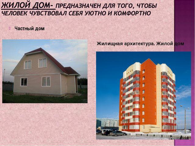 Частный дом Жилищная архитектура. Жилой дом