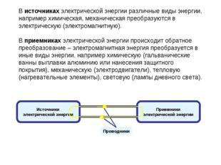 В источниках электрической энергии различные виды энергии, например химическ