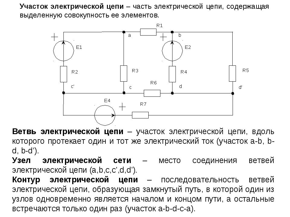 Участок электрической цепи – часть электрической цепи, содержащая выделенную...