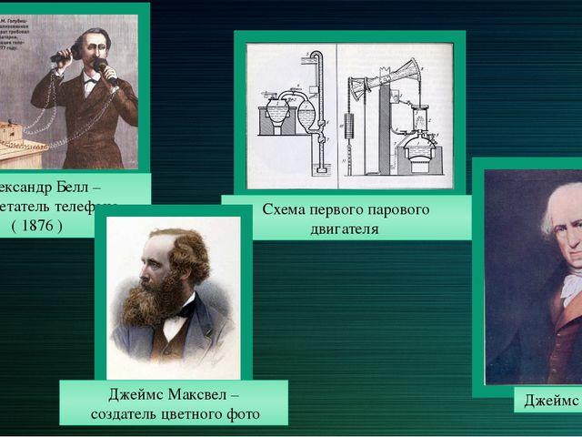 Александр Белл – изобретатель телефона ( 1876 ) Джеймс Максвел – создатель цв...