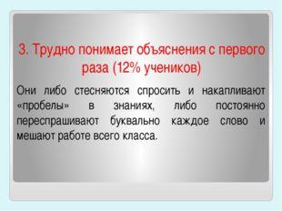 3. Трудно понимает объяснения с первого раза (12% учеников) Они либо стесняю