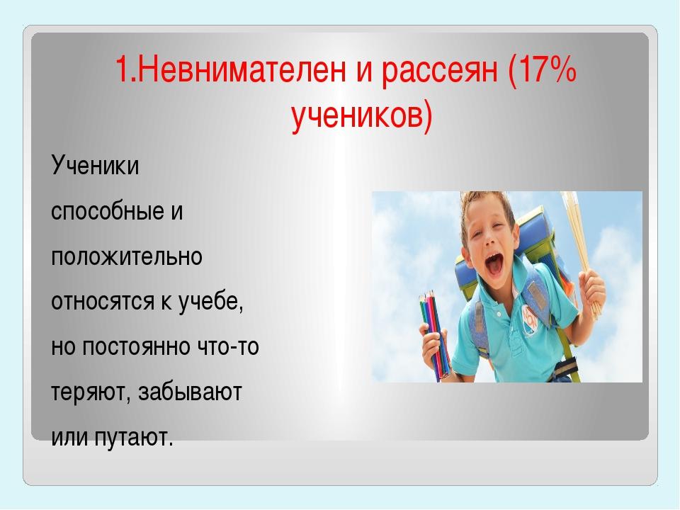 1.Невнимателен и рассеян (17% учеников) Ученики способные и положительно отн...