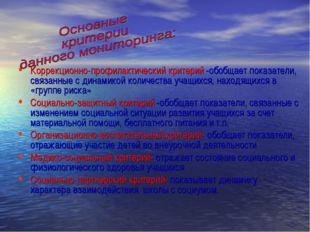 Коррекционно-профилактический критерий -обобщает показатели, связанные с дина