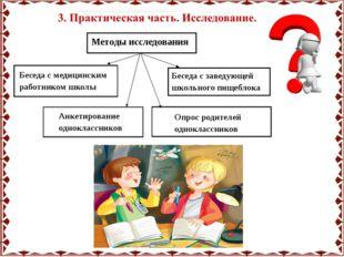 Методы исследования Беседа с медицинским работником школы Беседа с заведующей