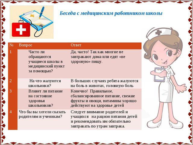 Беседа с медицинским работником школы №Вопрос Ответ 1Часто ли обращаются у...
