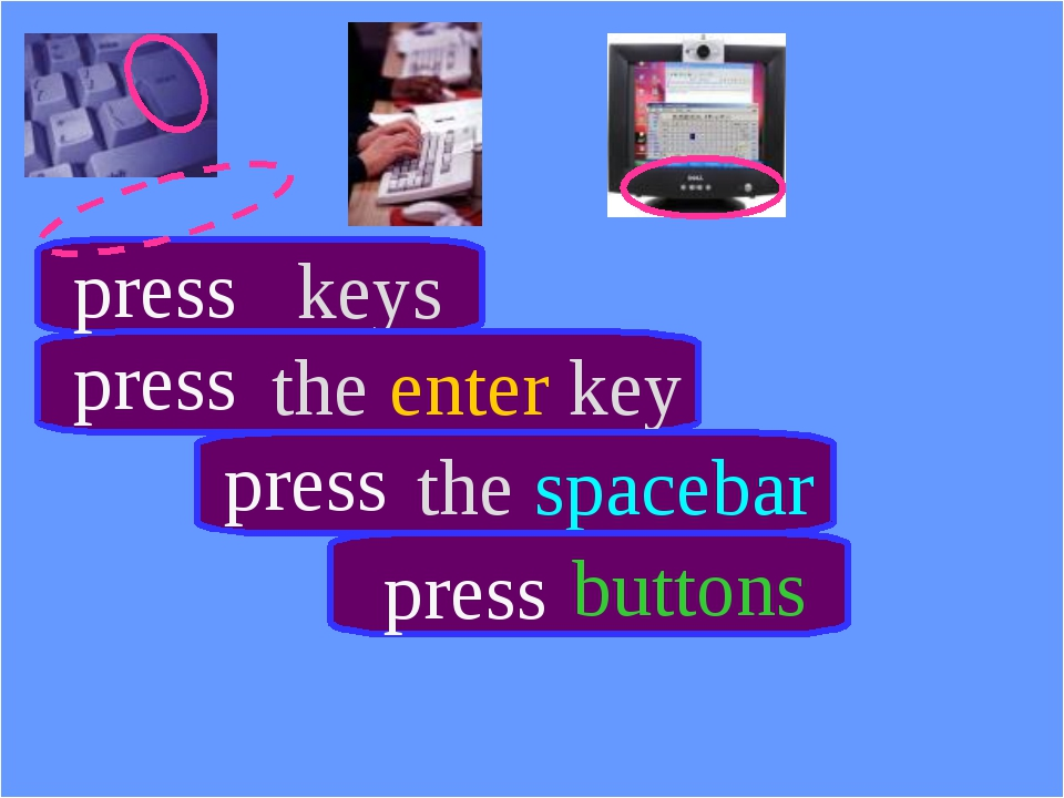 keys the enter key the spacebar buttons press press press press