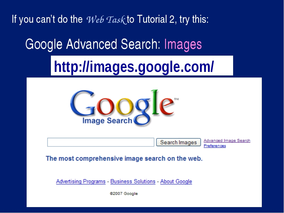 http://images.google.com/ Google Advanced Search: Images If you can't do the...