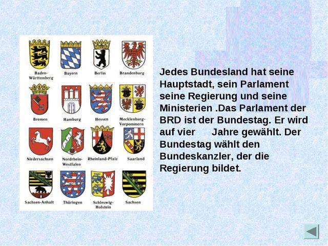 Jedes Bundesland hat seine Hauptstadt, sein Parlament seine Regierung und sei...