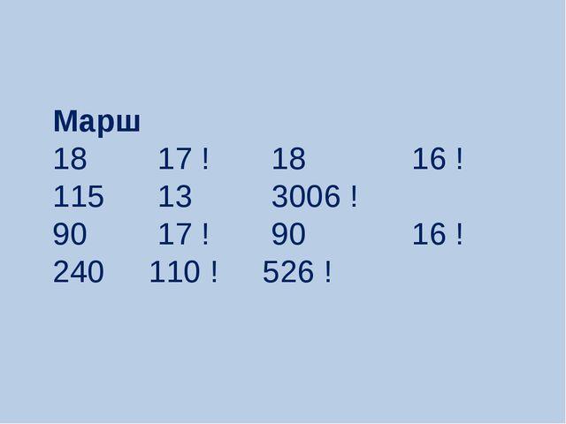Маpш 18 17 ! 18 16 ! 115 13 3006 ! 90 17 ! 90 16 ! 240 110 ! 526 !
