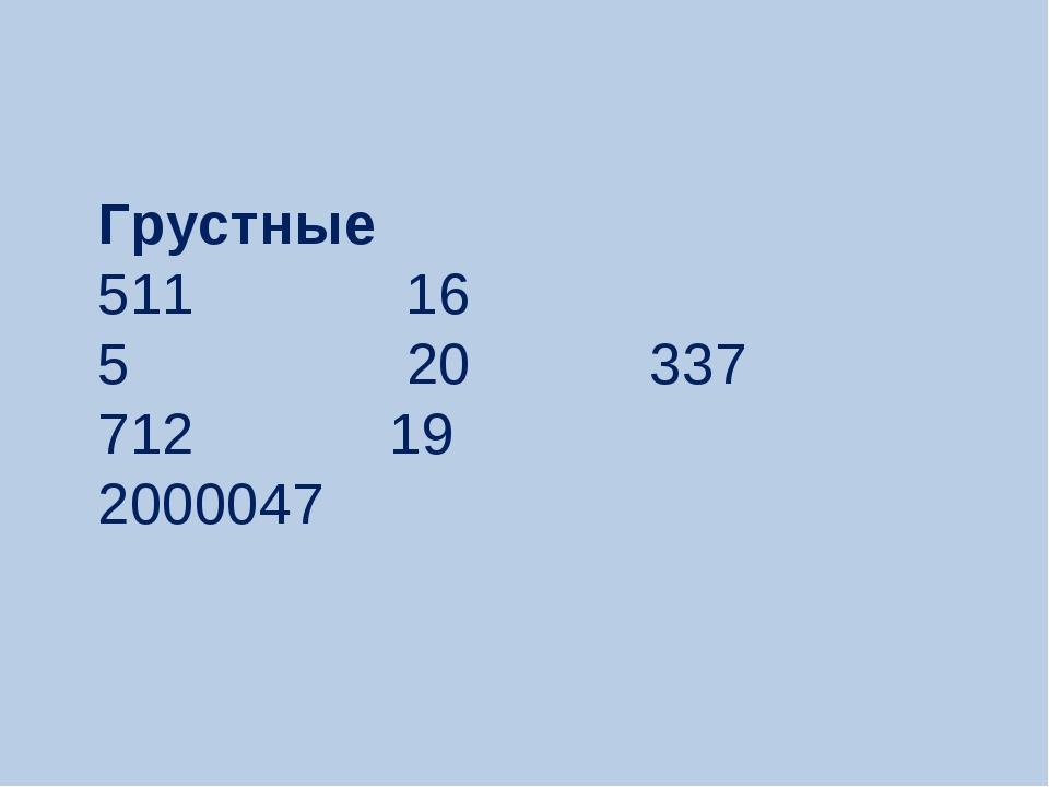 Грустные 511 16 5 20 337 712 19 2000047