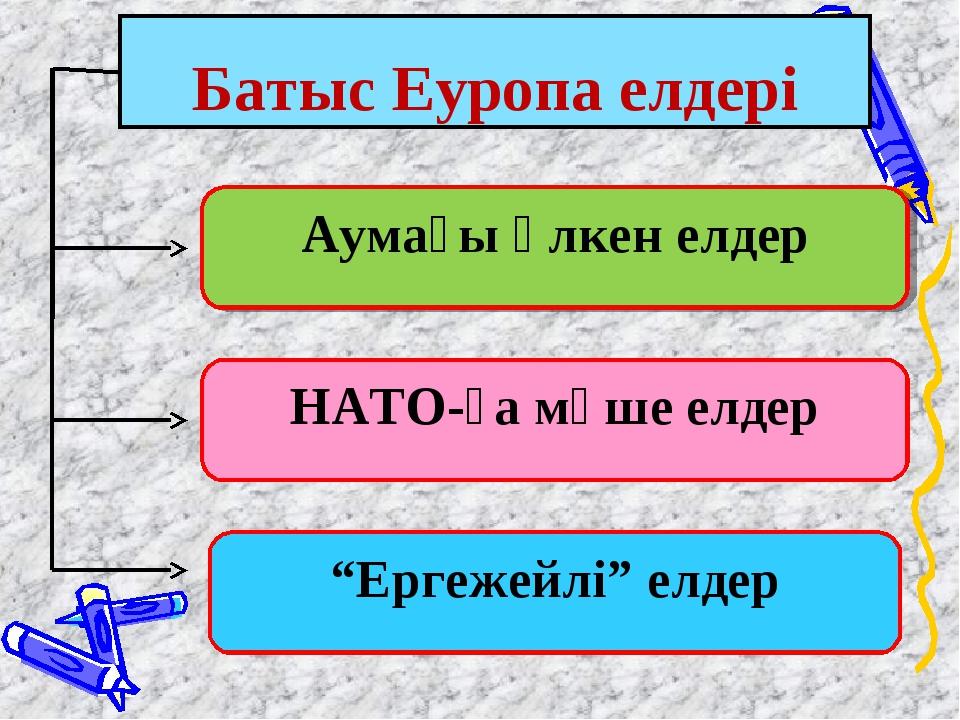 """Батыс Еуропа елдері """"Ергежейлі"""" елдер НАТО-ға мүше елдер Аумағы үлкен елдер"""