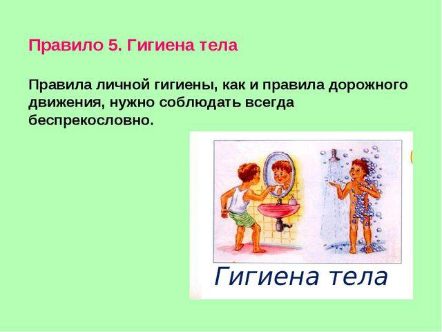 Правило 5. Гигиена тела Правила личной гигиены, как и правила дорожного движе...