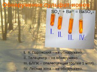 Обнаружение сульфат-ионов SO42- + Ba2+ = BaSO4↓ I. п. Порожский – не обнаруже
